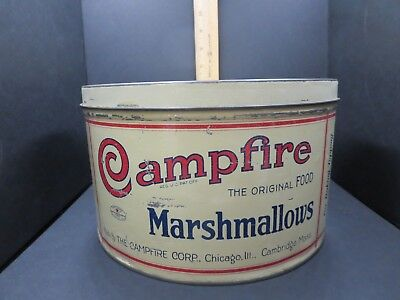 "VINTAGE 5LBS CAMPFIRE MARSHMALLOWS TIN W/LID 6"" T x 10"" CIRCUMFERENCE ORIGINAL"