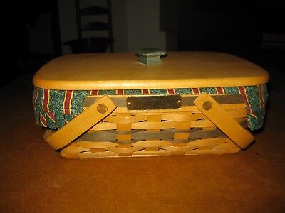 Longaberger 1996 Holiday Cheer Basket With Wood Lid, Liner & Protector - VGC