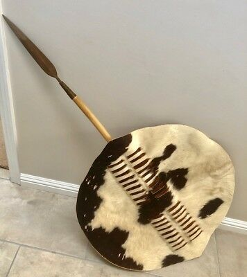 Zulu Shield Nguni Hide with Spear