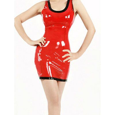 Sexy Latex Women Dress Red Slim Club Wear Rubber Female Clothing Unique Party