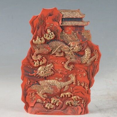Chinese Cinnabar Hand Carved Statue Made During The DaQing YongZheng Period