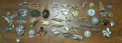 Huge lot of 40 Brooches Some vintage & Signed