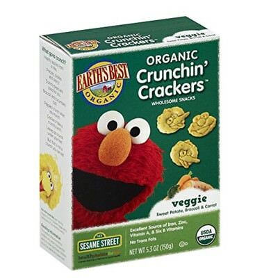 Earth's Best Organic Crunchin' Crackers Veggie 5.3 Ounce (Pack of 6) Short Dated