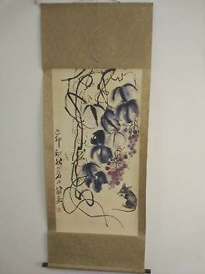 Excellent old Chinese Scroll Painting By Qi Baishi: grape mouse X062