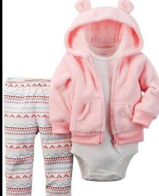 New Carter's Baby Girls' 3 Piece Cardigan Set - Pink Fairisle - 6 Months