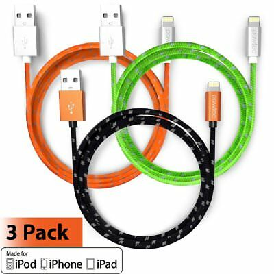 Pawtec MFi Certified Lightning Cables 3.3ft for Apple iPhones & Devices (3 Pack)