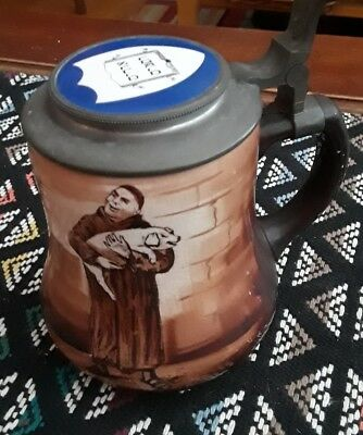 LATE 1890's ANTIQUE BEER STEIN MONK w PIG * HEBREW BIBLE TEXT by OHARA DIAL Co.