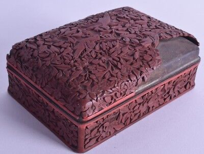 18th c chinese cinnabar box casket carved with birds & foliage qianlong period