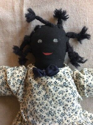 "Black African American Primitive Rag Cloth Doll 14"" Long  MINT!"