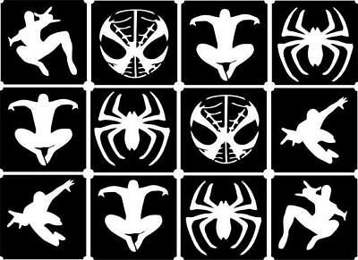 12x Spider Man top up glitter tattoo kit face painting Airbrush (reusable)