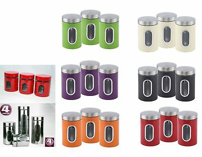 Canister Window Tea Coffee Sugar Stainless Steel Box Glass Canister Jar Set 3pc
