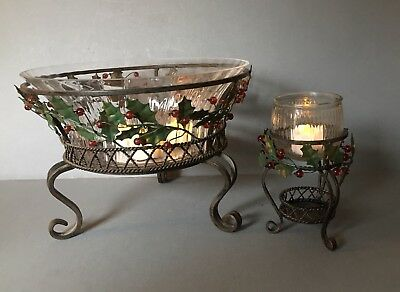 PARTYLITE SET~EUC~Ornate Wrought Iron Centerpiece~Candle Holders~Holly Lites~