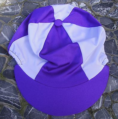 Lycra Riding Hat Silk Skull cap Cover PURPLE & WHITE With OR without Pompom
