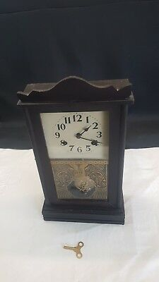 Antique American Waterbury Wind Up Wood Cased Wall Clock & Key