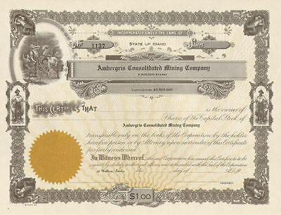 Ambergris Consolidated Mining Company > Wallace Idaho stock certificate share