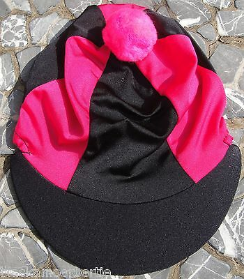 Riding Hat Silk Skull cap Cover BLACK & HOT CERISE PINK With OR w/o Pompom