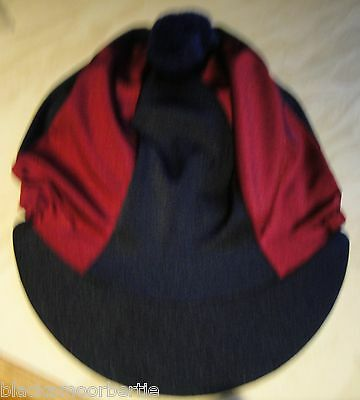 Riding Hat Silk Skull cap Cover NAVY BLUE & BURGUNDY / MAROON With OR w/o Pompom