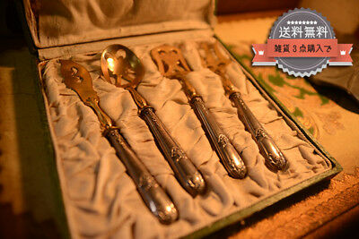 �SALE】 French antique rare rare cosmetic box cake desert cutlery set knife f