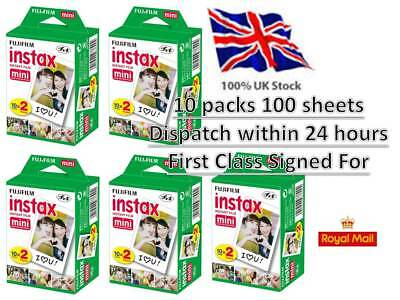 100 Shots Fuji Instax Mini 100 White Film for Fujifilm Mini 7s/8/9/25/50/90/70