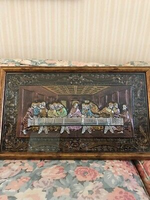 Vintage DaVinciu0027s Last Supper Boxed Framed 3D Wall Art Ornate 24x14 Nice Cond : last supper wall art - www.pureclipart.com