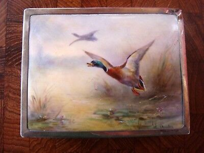 Abercrombie & Fitch 1928 Sterling Silver Cigarette Box  Ducks Signed England