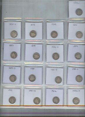 57 different silver barber dimes, 1892-1916