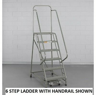"""NEW! EGA Steel Industrial Rolling Ladder 2-Step-16"""" Wide Perforated-450lb. Cap!!"""