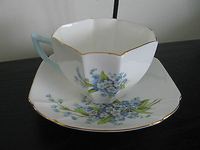 Vintage Shelley Queen Ann Forget Me Not Flower Cup and Saucer