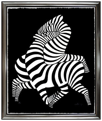 Victor Vasarely Original Zebras Cast Relief Sculpture Large Signed Modern Art