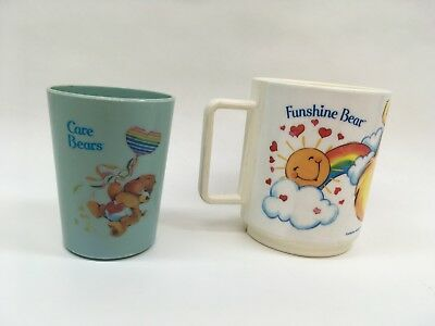 Care Bears Vintage Deka Plastic Funshine Bear Mug and Tenderheart Bear Cup