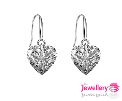 925 Sterling Silver Drop 9mm Heart Crystal Earrings Jewellery Womens Ladies Gift