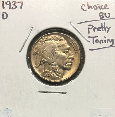 1937 D Buffalo Nickel ~ *Choice BU Toned* ~ Bold Details ~ *Double Die Obverse*