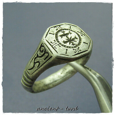 ** DOUBLE CROSS **excellent ANCIENT BYZANTINE SILVER Ring!