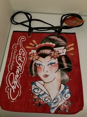 Ed Hardy By Christian Audigier Geisha/ Asian Inspired  Red Tote and Travel Bag