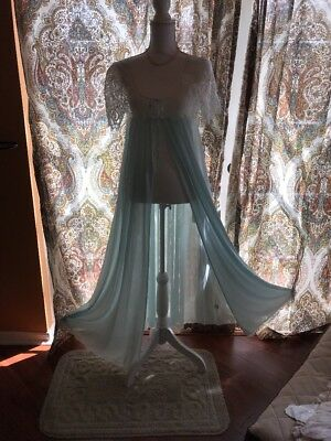 Vintage Nightgown LONG HUGE SWEEP MISS ELAINE GOWN/ROBE SISSY  SZ M EXCELLENT