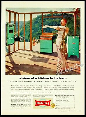 1957 WASTE KING Turquoise Kitchen Appliances Well Dressed Lady in Mtns Vtg AD