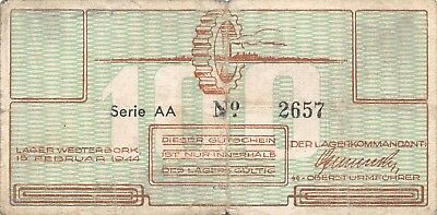 Netherlands Westerbork Labor Camp 100 Cent 1944 serial: AA 2657 VeryGood
