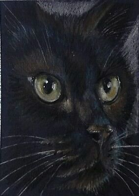 ACEO Orig. Spirit Black Cat Cats Animals Felines Impressionism