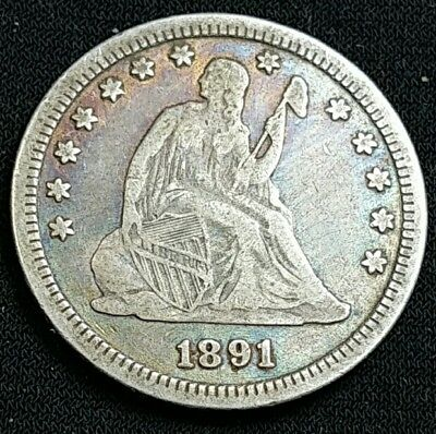 1891 25 Cent Toned  Liberty Seated Silver Quarter