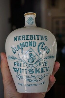Old Meredith's Diamond Club Pure Whiskey Pottery Bottle