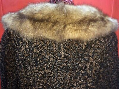 Black Tan CURLY Full Length PERSIAN LAMB & Mink fur COAT Schiaparelli Paris Sm