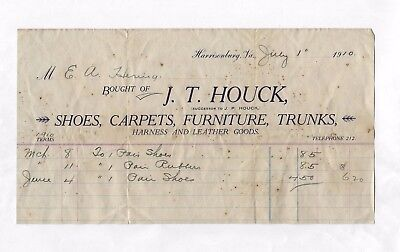 Old Vintage 1910 Statement J.t. Houck Shoes Carpets Furniture Harness Leather