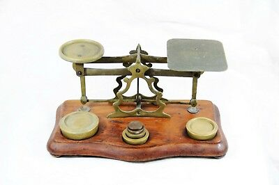 Antique Miniature Postal Scale Brass on wood base with Brass Weights 2