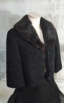1960s Fur Jacket / Vintage 1950s 1960s Cropped Black Fur Jacket Coat