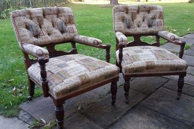 Pair of Antique Mahogany Nursing Chairs / Armchairs / Good Quality