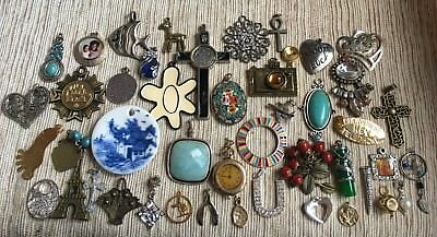 Lot Of 44 Vintage To Now Pendants~Assorted Styles & Sizes & Materials & Colors!