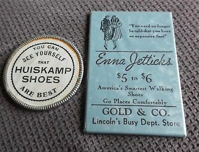 Vintage Shoe Advertising 2 Pocket Mirrors Huiskamp & Enna Jetticks Shoes