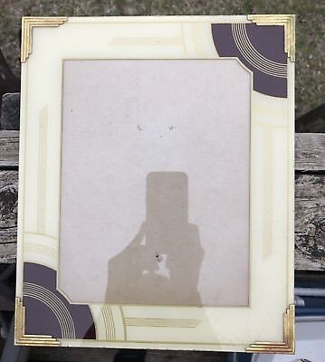 """Vintage ART DECO Reverse Painted Glass 10"""" x 12"""" Picture Frame gold cream"""