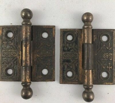 """Pair Windsor Eastlake Victorian CI Antique Loose Pin Butt Hinges 2""""x2"""""""