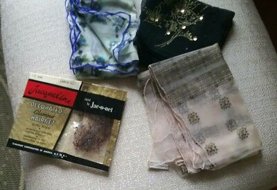 Lot of NEW Vintage silk & rayon scarves family estate + Handmade Glamour HAIRNET
